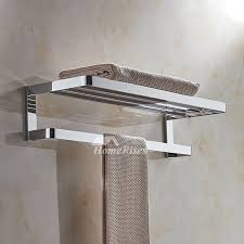 modern polished chrome towel rack solid