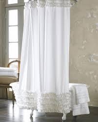 White Ruffle Shower Curtain Gishruffled Horchow Throughout Decorating Ideas