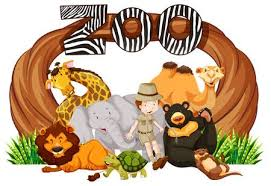 zookeeper clipart. Wonderful Clipart Zookeeper And Wild Animals At Zoo Entrance Illustration Illustration Throughout Clipart T
