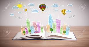 colorful cityscape drawing on open book stock photo 28496581