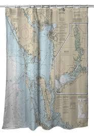 Fl Charlotte Harbor To Pine Island Sound Fl Nautical Chart Shower Curtain Map Shower Curtain