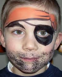 makeup ideas kids pirate makeup face painting of little boy pirate with orange bandanna