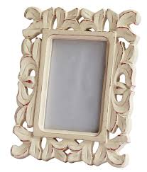 bulk whole handmade white picture frame in mango wood with intricate carving in traditional pattern