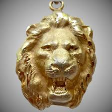 14k gold filled 3 d roaring lion head pendant necklace