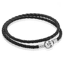 pandora gold bracelet on pandora silver and black double braided leather bracelet cbk
