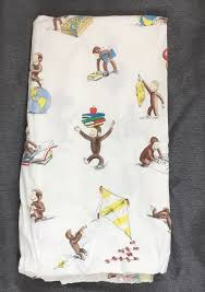 details about pottery barn kids curious george twin flat sheet 100 organic cotton