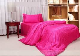 hot pink silk bedding set plaid satin sheets super king size queen quilt duvet cover bedspread bed in a bag linen double doona in bedding sets from home