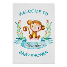 Watercolor Monkey Boy Baby Shower Poster