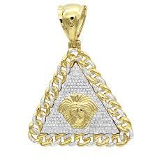 real 10k gold diamond medusa head triangle pendant cuban link chain 0 8ct yellow image