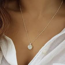 round silver strap initial necklace