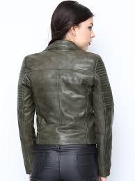 bareskin women olive green leather jacket jackets for women 619314 myntra