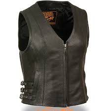add to my lists milwaukee womens side buckle zip up black leather motorcycle vest
