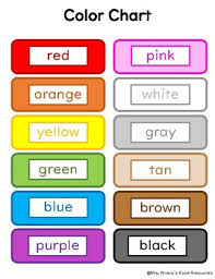 Color And Color Names Chart By Mrs Riveras Resources Tpt