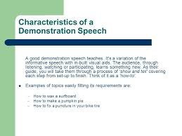 demonstration speeches ppt video online  characteristics of a demonstration speech