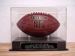 glass football display case football display case football display case with a watt engraved nameplate football