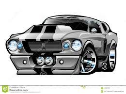 Classic American Muscle Car Cartoon Illustration Stock Vector