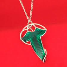 whole lord of ring green leaf pendant necklace brooches with silver chain fashion enamel jewelry for women gift drop silver jewelry