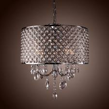 Modern Bedroom Chandeliers Drum Crystal Chandelier Modern 4 Lights Shade Pendant Lamp Living