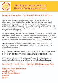 job vacancy heeley development trust learning champion full job advert new
