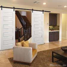 2018 8ft double sliding barn wood door hardware cabinet closet kit black straight style rolling flat track set for outside and inside door from sun shine