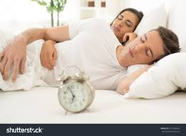 In Bedroom Young Hugging Couple Sleeping On Bed Stock Photo 217362424