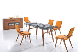 zeppelin  modern orange dining chair (set of )
