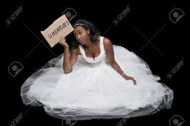 unemployed black african american woman bride in a wedding dress Wedding Blog African American unemployed black african american woman bride in a wedding dress stock photo 12101410 wedding blog african american