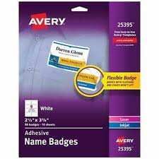 Avery 25395 White Adhesive Name Badges Pack Of 5 For Sale