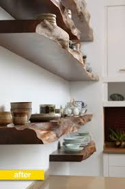 Raw Wood Floating Shelves Gorgeous Kitchen Before After A Disorganized Kitchen Gets A Place For