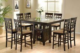 enchanting dining room furniture wicker plank lacquered walnut wood stainless steel standard legs round dark brown