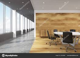 white round conference room table lobby stock photo