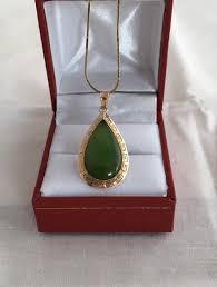 14k gold green jade teardrop greek key