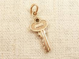 Two Available Vintage 14K Gold House Key Charm E10231018402536671M