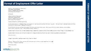 Sample Employment Offer Letter Template Employment Offer Letter Format Template Legalraasta
