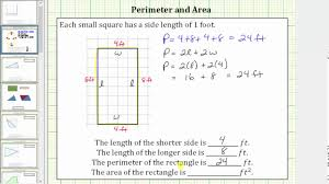 Determine The Perimeter And Area Of A Rectangle On A Grid Youtube