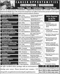 jobs in in construction company karachi  amp  lahore pakistan new an international construction engineering company has advertised jobs for