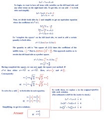 find the roots of the following quadratic equations if they exist by the method of completing the square i 2x2 7x 3 0