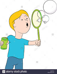 an image of a kid ing bubbles stock image