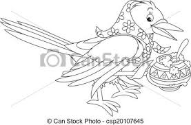 Small Picture EPS Vector of Magpie cooking porridge in her pot black and white