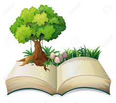 ilration of an open book with a tree on a white background stock vector 28193790