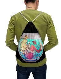 """Рюкзак-мешок с полной запечаткой """"<b>Русалка</b> в аквариуме ..."""