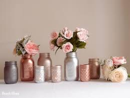Blush Rose Gold Wedding Decor Centerpiece Metallic Mason Jars Copper Silver  Grey by BeachBlues