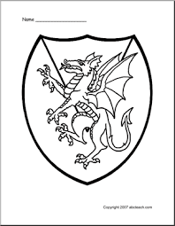 Medieval Classroom Theme Of 1 Coloring Page Medieval Shield Dragon