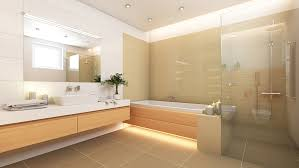 bright open bathroom with floating vanity