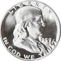 1959 Franklin Half Dollar Value Chart 1959 Ben Franklin Half Dollar Value Cointrackers