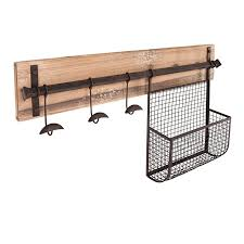 Coat Rack With Storage Baskets Shop Boston Loft Furnishings Emerson Aged Metal 100Hook Wall Mounted 93