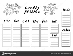 Weekly Planner Vector Template Organizer For Daily Plans And