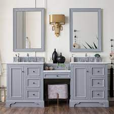 If you already install a sink in the area, try to make the side make up area. 82 De Soto Double Vanity With Makeup Table Silver Gray Vanities
