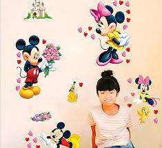 wall decor by fashionbeauty lovely mickey and minnie wall decal home sticker paper removable