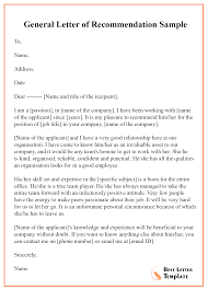 How To Write A General Letter Of Recommendation 034 General Letter Of Recommendation Template Sample